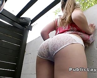 Huge pantoons and arse honey bangs for money in public