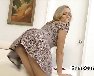 Blonde discloses her vagina upskirt and gives pov cook jerking