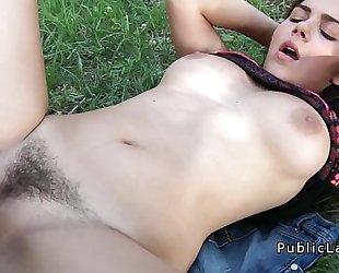 Busty and shaggy italian student bonks in the park pov