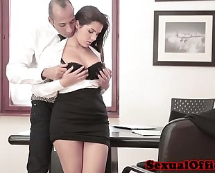 Busty office spex playgirl acquires ejaculation on bra buddies