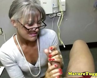 Granny aged toying with jock