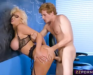 Busty milf teacher screwed by a student in the classroom