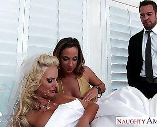 Sexy chicks jada stevens and phoenix marie share knob at wedding