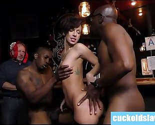 Busty white cheating wife violated by two massive dark weenies