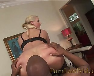 Blonde doxy is an anal serf for large dark dick