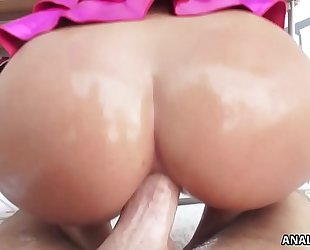 Curvy keisha grey rides a rock hard schlong anally