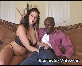Busty wifey devours giant knob
