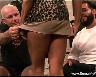 Sleazy spouse watches his amateur wife fuck