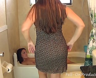 Madisin lee & melanie hicks in mamma washes daughters hair. horny white wife on slutwife hair wash