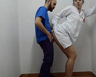 Nurse doing 1st help on jock