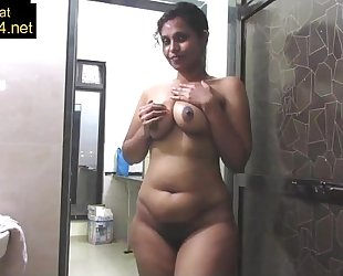 Mature indian mommy pressing large desi wobblers in shower masturbation