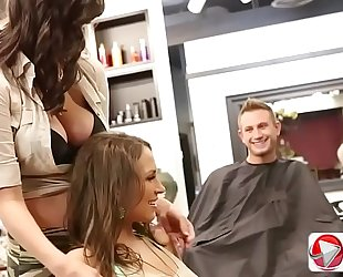 Barber customer has 2 large knob for lily love and holly michaels 1080p