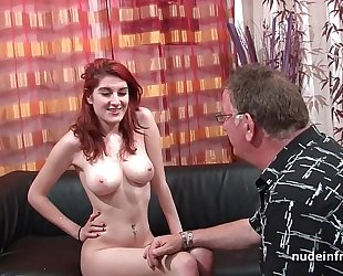 Busty french redhead hottie unfathomable anal screwed with cum on arse for her casting ottoman