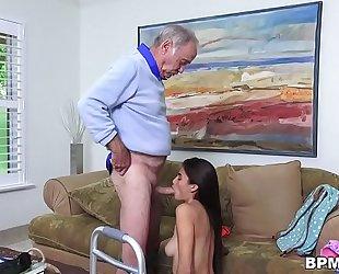Petite latin chick michelle martinez gives fellatio to granddad