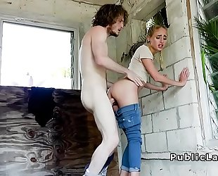 Lovely blond receives massive jock in public