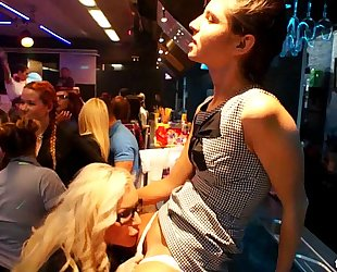 Lesbian clubbers receives drilled in public