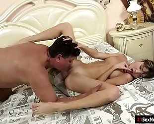 Gina gerson blows licked asslicks and receives drilled by old man