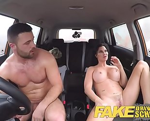 Fake driving school favourable juvenile chap enticed by his breasty milf examiner