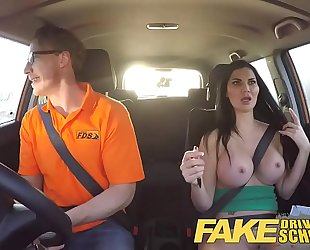 Fake driving school breasty examiner passes excitable youthful chap on his test