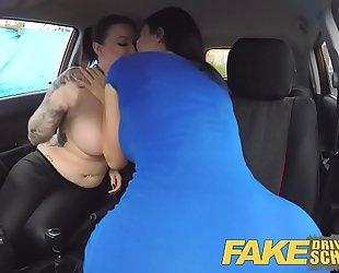 Fake driving school jailbird with large milk sacks tastes examiners shaven cum-hole
