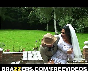 Busty dark brown bride jasmine jae copulates the brother of the groom
