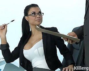 Sexy milf jasmine jae plays the office slut addicted to hard dong