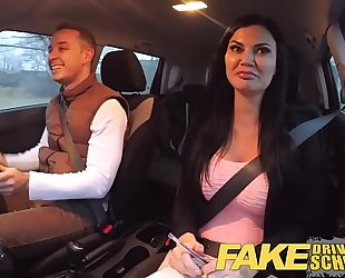 Fake driving school exam failure ends in three-some double creampie