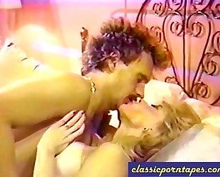 Blonde whore in retro 80s movie scene