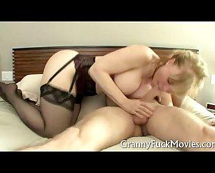 Granny in dark nylons dicked