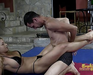 Victorious wrestling mastix jerks off her loser thrall