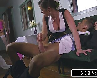 Slutty bridesmaid mea malone and lustful mother-in-law cathy heaven give oral sex