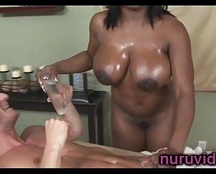 Busty ebon jada fire gives astonishing weenie massage