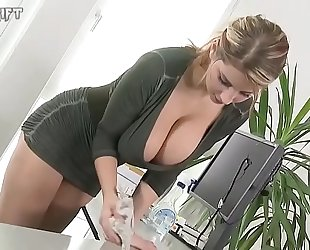 Hot blond maiden with large mangos