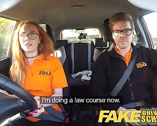 Fake driving school nerdy ginger legal age teenager screwed to creampie agonorgasmos