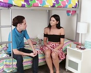 Raven haired bimbo with no tits banged by horny college dude