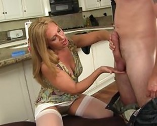 Blonde housewife in white stockings takes young pecker as deep as she can