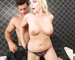 Fantastic blonde cougar gets anally fucked by a fat dick