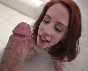 Spunky redhead chick gets roughly fucked in threesome