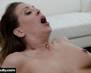Busty MILF spreads her legs wide open for big black cock